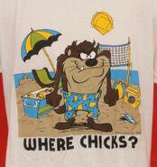 Vintage 1986 Taz Beach Fun WHERE CHICKS Tasmanian Devil T-Shirt 23 Pit2Pit
