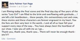 Zoie Palmer (Season 5) Thank You (facebook)