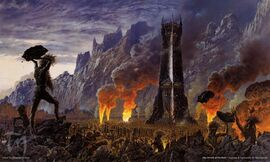 Atak entów na Isengard, autorstwa Teda Nasmitha