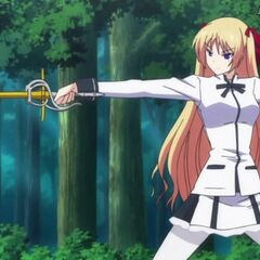 Chris practicing with her rapier (Anime)