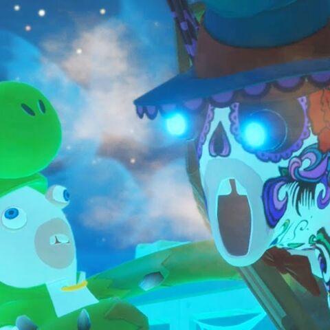Mario luchando contra el Tiburón Calavera.