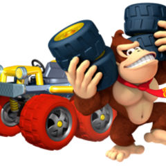 Donkey Kong holding some wheels.