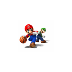 Luigi trying to take the Basketball from Mario