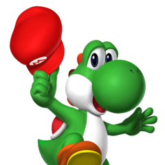 Yoshi with Mario's hat.