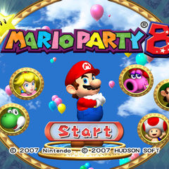 The title screen for <i>Mario Party 8</i>.