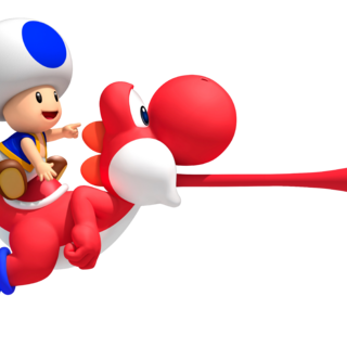 Blue Toad on Red Yoshi (Note that in the final game, a Pink Yoshi appears instead of a red one).