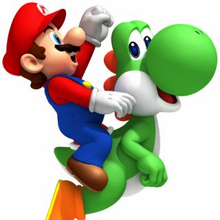 Mario on Yoshi.