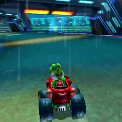 Yoshi driving in one of the tunnels.