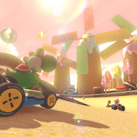 Yoshi racing in the course.