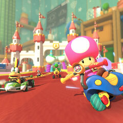 Toadette using a Mr. Scooty.