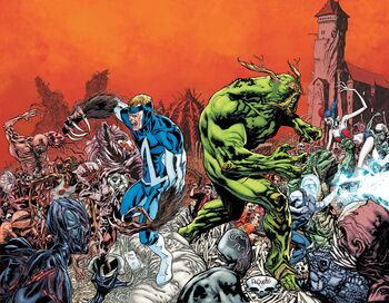 Animal Man and Swamp Thing #17 [[Rotworld]] Spread