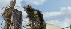 Rocket Groot Attack Gamora