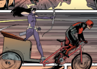 Katherine Bishop (Earth-616) and Wade Wilson (Earth-616) from Hawkeye vs. Deadpool Vol 1 3 001