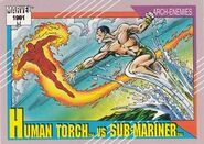Jonathan Storm vs. Namor McKenzie (Earth-616) from Marvel Universe Cards Series II 0001