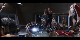 Anthony Stark (Earth-199999) testing Iron Man Armor MK XLII (Earth-199999) from Iron Man 3 (film) 001