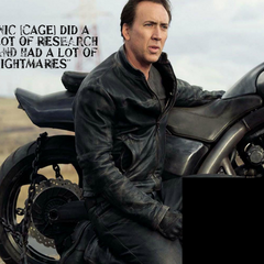 Nic Cage on the set.