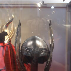 Thor's helmet on display.
