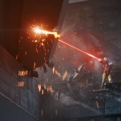 Iron Man attempts to repair a damaged part of The S.H.I.E.L.D Helicarrier.