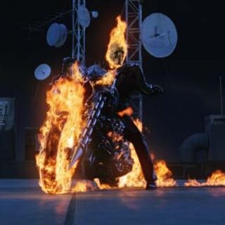 Johnny Blaze's fire spreaded all over his bike.