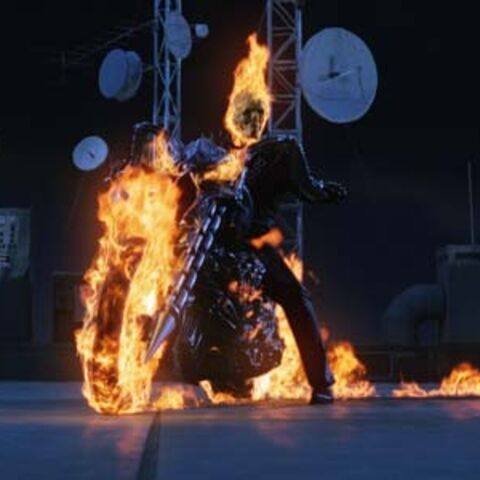 Johnny Blaze's using hellfire manipulation to transform his bike.