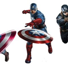 Concept art of Captain America's uniform from <i>The First Avenger</i>, <i>The Avengers</i> and <i>The Winter Soldier</i>.