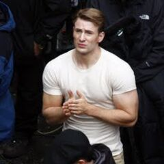 Chris Evans on set as Steve Rogers.