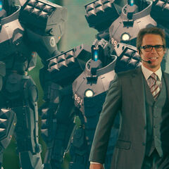 Justin Hammer Introduces The Hammer Drones at the Stark Expo.