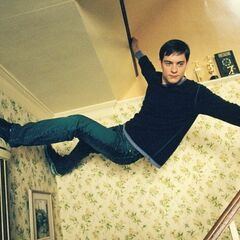 Peter sticks to the celling.