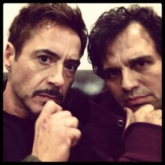 Robert Downey Jr. and Mark Ruffalo on set