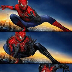 Spider-Man 3 Banner featuring The Black Symbiote consuming Spider-Man.