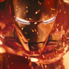 Iron Man in a fireplace.