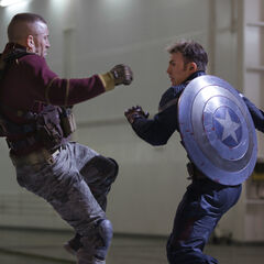 Cap's battered shield in the beginning of <i>The Winter Soldier</i>