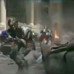 The Chitauri invading the city.