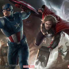 Promo banner of Thor & Captain America.