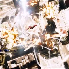 Iron Man shooting The Chitauri above the city.
