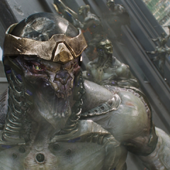 Chitauri scream in rage at the destruction of the first Leviathan