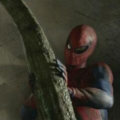 Spider-Man with a cut off Lizard's tail.