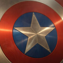 Captain America's shield close up shot.