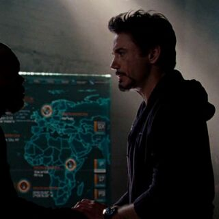 Wakanda seen on the map behind <a href=