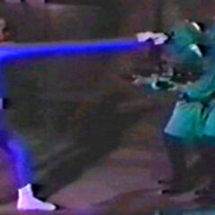 Mr. Fantastic fighting Doom's guards