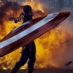 Captain America throws his shield.