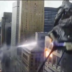 The Chitauri flying through the city.