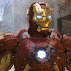 Battle damaged Iron Man Mark VII.