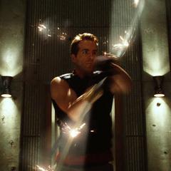 Wade deflecting bullets.