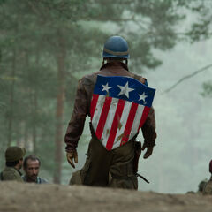 Original Captain America costume with shield visible.