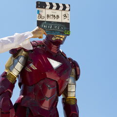On set with Robert Downey Jr. (Iron Man).