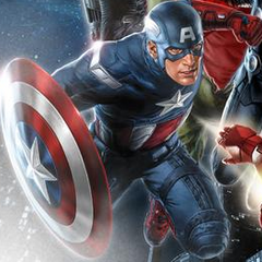 Cap in Avengers Promo Art.