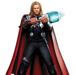 Concept art of Chris Hemsworth wielding Mjölnir as Thor.