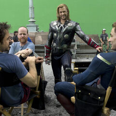 Joss on set with Chris Hemsworth, Robert Downey Jr. and Chris Evans.