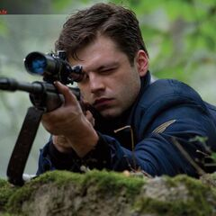 Bucky with a sniper rifle.
